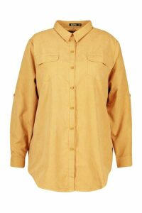 Womens Plus Suedette Pocket Detail Oversized Shirt - beige - 24, Beige