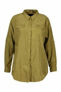 Womens Plus Suedette Pocket Detail Oversized Shirt - green - 16, Green