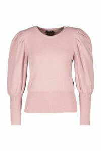 Womens Rib Knit Balloon Sleeve Top - Pink - M, Pink