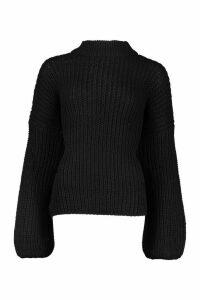 Womens Oversize Bell Sleeve Jumper - black - S/M, Black
