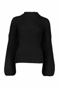 Womens Oversize Bell Sleeve Jumper - black - M/L, Black