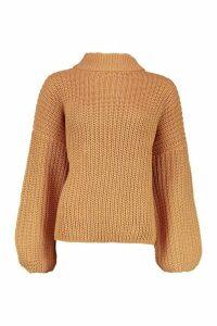 Womens Oversize Bell Sleeve Jumper - beige - M/L, Beige