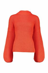 Womens Oversize Bell Sleeve Jumper - orange - S/M, Orange
