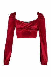 Womens Velvet Wrap Long Sleeve Crop Top - red - 16, Red