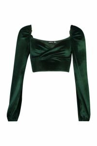 Womens Velvet Wrap Long Sleeve Crop Top - green - 14, Green