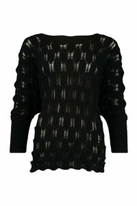 Womens Oversized Bobble Knit Jumper - Black - S/M, Black