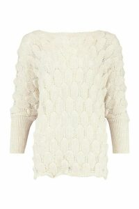 Womens Oversized Bobble Knit Jumper - Beige - S/M, Beige
