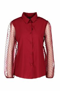 Womens Organza Spot Mesh Sleeve Shirt - red - M, Red