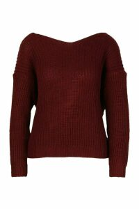 Womens Twist Knot Back Jumper - red - M, Red