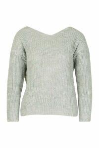Womens Twist Knot Back Jumper - grey - M, Grey