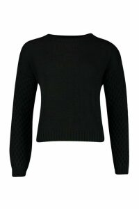 Womens Cable Sleeve Jumper - black - M/L, Black