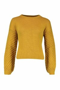 Womens Cable Sleeve Jumper - yellow - S/M, Yellow