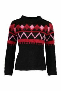 Womens Fluffy Christmas Knit Jumper - black - M, Black