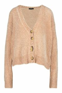 Womens Chenille Button Through Cardigan - Pink - M, Pink