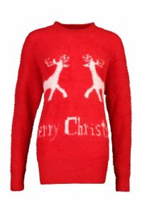 Womens Oversized Fluffy Knit Merry Christmas Jumper - red - S, Red