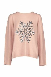 Womens Snowflake Christmas Jumper - pink - M, Pink