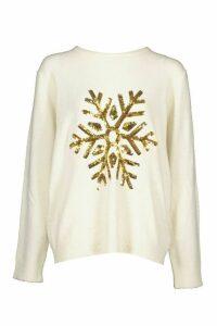 Womens Snowflake Christmas Jumper - cream - M, Cream