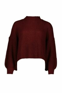 Womens Petite Balloon Sleeve Cropped Jumper - red - M, Red