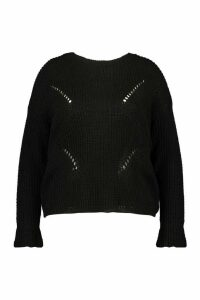 Womens Plus Cuff Detail Fisherman Knit Jumper - Black - 18, Black