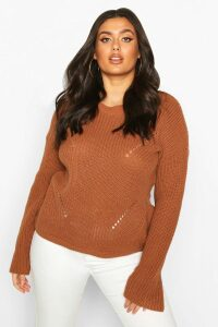 Womens Plus Cuff Detail Fisherman Knit Jumper - beige - 20, Beige