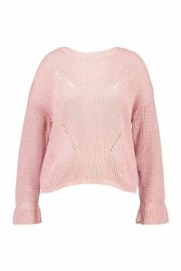 Womens Plus Cuff Detail Fisherman Knit Jumper - pastel pink - 24, Pastel Pink