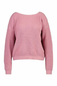 Womens Plus V-Back Oversized Jumper - Pink - 24, Pink