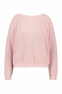 Womens Plus V-Back Oversized Jumper - Pink - 24-26, Pink