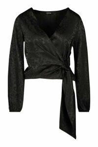 Womens Petite Satin Leopard Jacquard Wrap Top - black - 8, Black