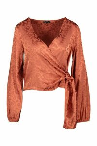 Womens Petite Satin Leopard Jacquard Wrap Top - dusty rose - 4, Dusty Rose
