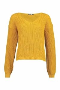 Womens Tall V Neck Jumper - yellow - M/L, Yellow