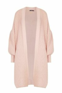 Womens Oversized Balloon Sleeve Cardigan - pink - S/M, Pink