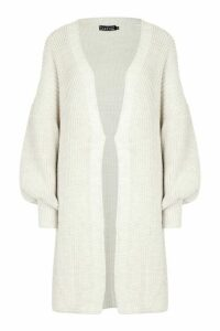 Womens Oversized Balloon Sleeve Cardigan - beige - M/L, Beige