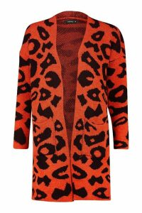 Womens Leopard Knitted Cardigan - brown - S, Brown