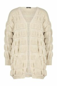 Womens Bubble Knit Edge To Edge Cardigan - beige - L, Beige