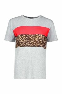 Womens Leopard Print Colour Block T-Shirt - Grey - 6, Grey