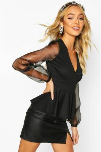 Womens Organza Sleeve Crepe Wrap Top - Black - 14, Black