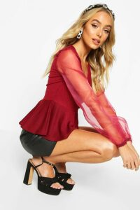 Womens Organza Sleeve Crepe Wrap Top - Red - 8, Red
