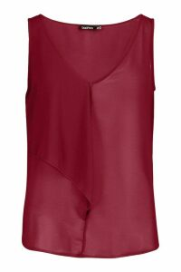 Womens Ruffle Front Woven Top - red - 8, Red