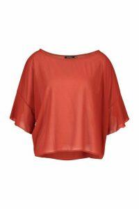 Womens Ruffle Sleeve Roxy Shell Top - orange - 10, Orange