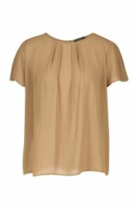 Womens Pleat Front Cap Sleeve Shell Top - beige - 8, Beige
