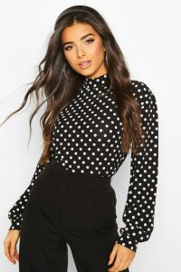Womens Polka Dot High Neck Blouse - Black - 12, Black