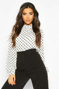 Womens Polka Dot High Neck Blouse - White - 14, White