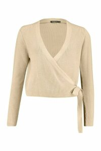 Womens Cropped Knitted Tie Front Cardigan - beige - L, Beige