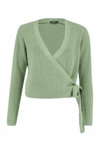 Womens Cropped Knitted Tie Front Cardigan - green - M, Green