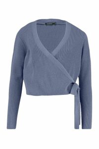 Womens Cropped Knitted Tie Front Cardigan - blue - L, Blue