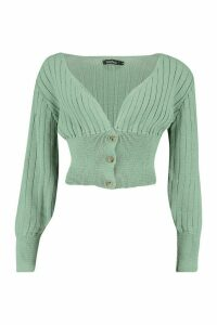 Womens Rib Knit Crop Balloon Sleeve Cardigan - green - L, Green