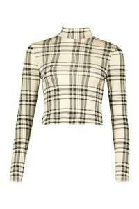 Womens Check High Neck Long Sleeve Top - beige - 16, Beige