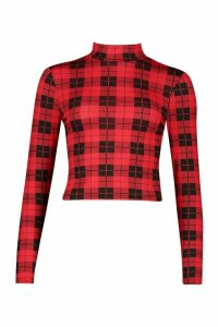 Womens Check High Neck Long Sleeve Top - red - 16, Red