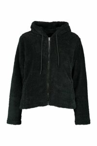 Womens Borg Zip Through Oversized Hoodie - black - M, Black