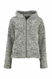 Womens Borg Zip Through Oversized Hoodie - grey - M, Grey
